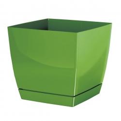 Doniczka kwadratowa + podstawka Coubi - 21 cm - oliwka