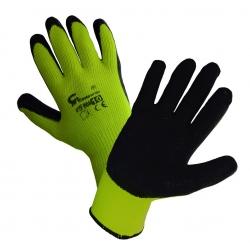 Rękawice powlekane lateksem - ocieplane - żółte - rozmiar 10