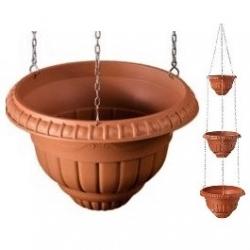 Roma - Trzypoziomowe wiszące doniczki - 20 + 25 + 30 cm - terakota