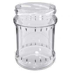 """Słoiki zakręcane szklane na miód - fi 82 - 500 ml z zakrętkami - """"Pszczoła na czarnym tle"""" - 120 szt."""