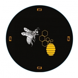"""Słoiki zakręcane szklane na miód - fi 82 - 250 ml z zakrętkami - """"Pszczoła na czarnym tle"""" - 32 szt."""