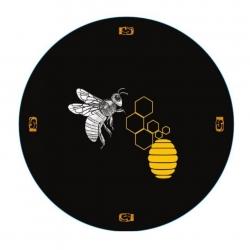 """Słoiki zakręcane szklane na miód - fi 82 - 500 ml z zakrętkami - """"Pszczoła na czarnym tle"""" - 32 szt."""