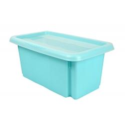 Skrzynka obrotowa z pokrywą - Emil i Emilia - 15 litrów - wodny niebieski