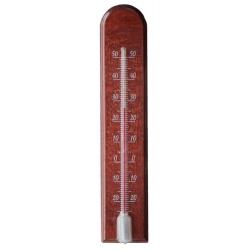 Termometr wewnętrzny drewniany - łuk - 45x205 mm - mahoń