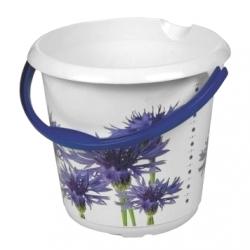 Wiadro z dekoracyjnym motywem - Ilvie - 10 litrów - chabry