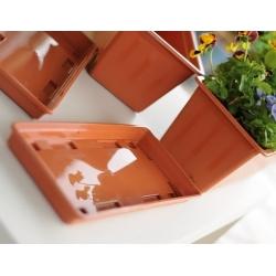 Zestaw balkonowy Agro - doniczka, podstawka, uchwyt - Terakota - 50 cm