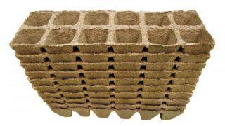 Kwadratowe doniczki torfowe - 4 x 5 cm - 12 sztuk