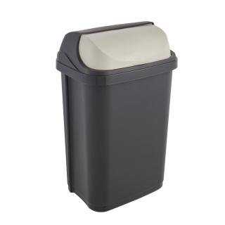 Kosz na śmieci z odchylaną pokrywą - Rasmus - 25 litrów - grafitowy