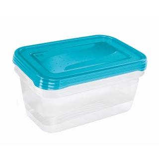 """Zestaw 3 prostokątnych pojemników na żywność - Fredo """"Fresh"""" - 1,25 litra - świeży niebieski"""
