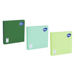Serwetki papierowe - 33 x 33 cm - AHA - 100 szt. + 20 szt. GRATIS - odcienie zieleni