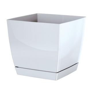 Kwadratowa doniczka z podstawką Coubi - 12 cm - Biała