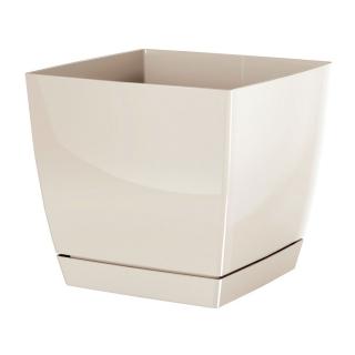 Doniczka kwadratowa + podstawka Coubi - 10 cm - kremowa