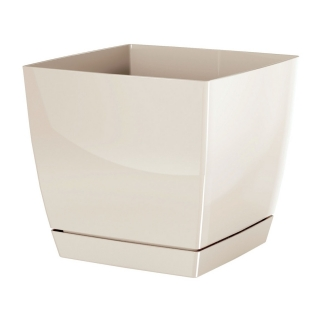 Doniczka kwadratowa + podstawka Coubi - 24 cm - kremowa