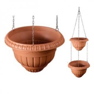Roma - Dwupoziomowe wiszące doniczki - 25 + 30 cm - terakota