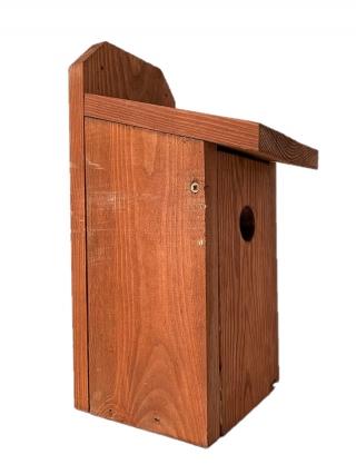 Budka lęgowa dla ptaków do montowania na ścianach i murach - sikorek, mazurków i muchołówek - brązowa