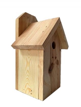 Budka lęgowa dla ptaków do montowania na ścianach i murach - sikorek, wróbli i kowalików - surowa