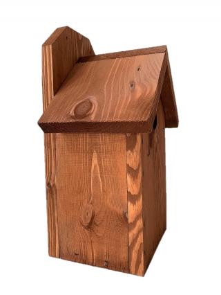 Budka lęgowa dla ptaków do montowania na ścianach i murach - sikorek, wróbli i kowalików - brązowa
