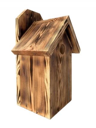 Budka lęgowa dla ptaków do montowania na ścianach i murach - sikorek, wróbli i kowalików - opalana