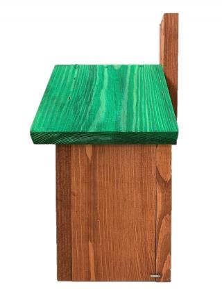 Budka lęgowa dla ptaków - sikorek, wróbli i kowalików -  brązowa z zielonym dachem