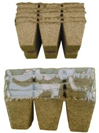 Kwadratowe doniczki torfowe - 6 x 6 cm - 36 sztuk