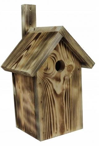 Budka lęgowa dla ptaków - sikorek, wróbli i kowalików - opalana