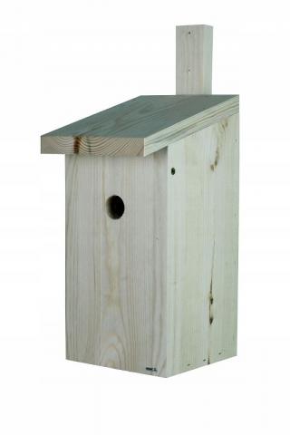 Budka lęgowa dla ptaków - sikorek, mazurków i muchołówek - surowa