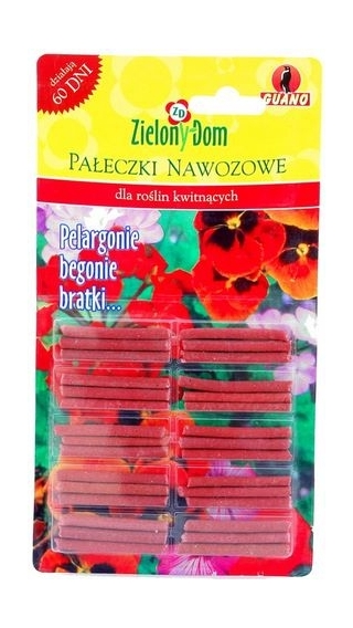 Pałeczki nawozowe do roślin kwitnących (begonie, pelargonie i bratki) - Zielony Dom - 30 szt.